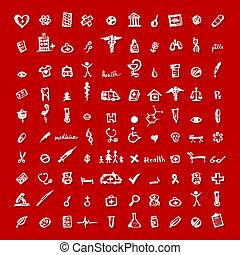iconos médicos, para, su, diseño