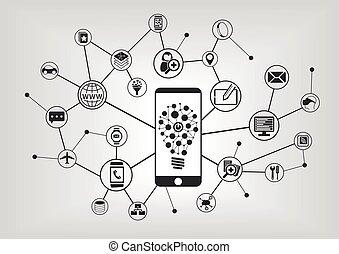iconos, móvil, technology., él, ilustración, teléfono,...