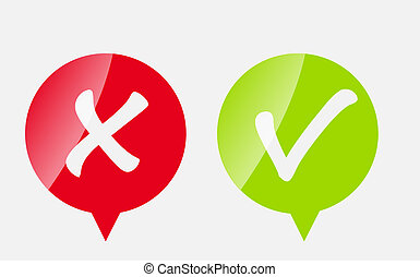 iconos, marca, vector, verde, cheque, rojo
