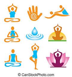 iconos, masaje, yoga, balneario