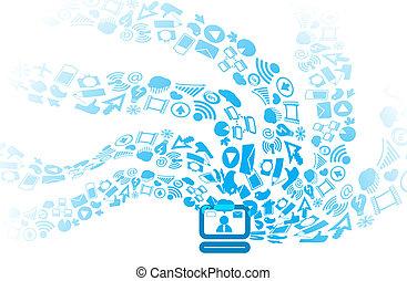 iconos, medios, moderno, flujos, computadora, social