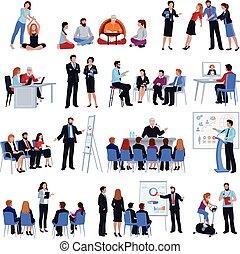 iconos, mentoring, conjunto, entrenamiento, plano, discipleship