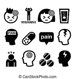 iconos, migraña, -, dolor de cabeza, médico