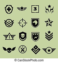 iconos, militar, símbolo