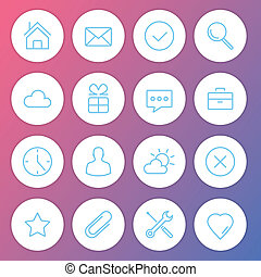 iconos, minimalistic, moderno, vector