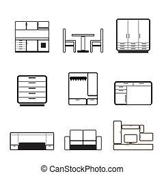 iconos, muebles, moblaje