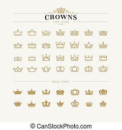 iconos, negrita, conjunto, línea, corona