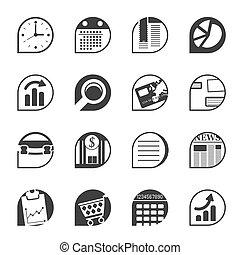 iconos, oficina, negocio internet