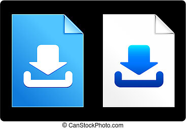 iconos, papel, entrada, conjunto