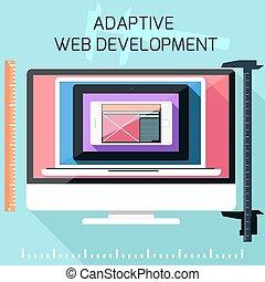 iconos, para, adaptable, cinche desarrollo