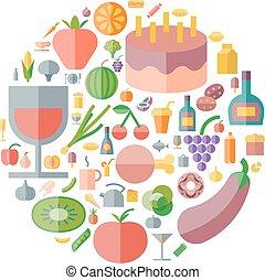 iconos, para, alimento y bebida, arreglado, en, círculo
