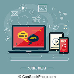 iconos, para, diseño telaraña, seo, social, medios