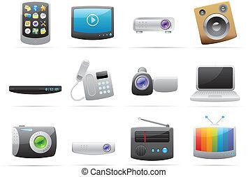 iconos, para, dispositivos