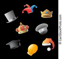 iconos, para, sombreros