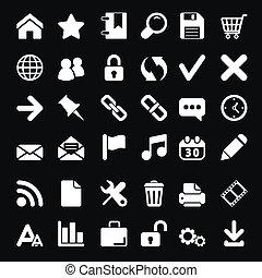 iconos, para, tela, y, móvil, en, fondo negro