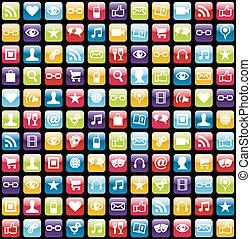 iconos, patrón, app, móvil, plano de fondo, teléfono