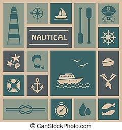 iconos, pesca, barco