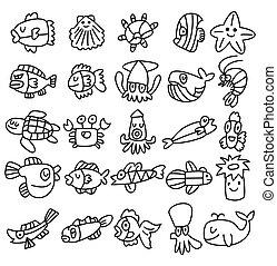 iconos, pez, conjunto, acuario, mano, empate