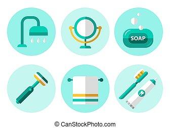 iconos, plano, conjunto, higiene