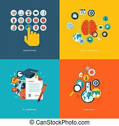 iconos, plano, educación en línea