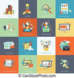 iconos, plano, mercadotecnia, diseño