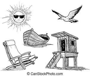iconos, playa, colección, verano