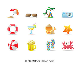 iconos, playa, productos