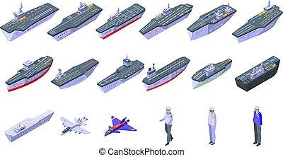 iconos, portador, avión, isométrico, conjunto, estilo