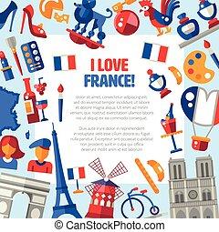 iconos, postal, viaje, francia francesa, símbolos, famoso,...