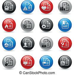 iconos, profesional, 2, -, conjunto, --, documentos, gel