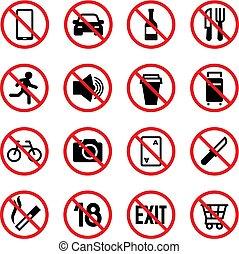 iconos, prohibido, aislado, prohibición, vector, advertencia, señal, signs.
