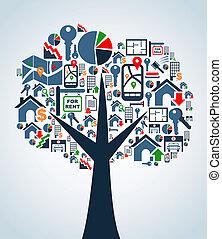 iconos, propiedad, árbol, servicio