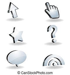 iconos, ratón, cursor