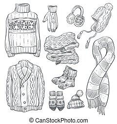 iconos, ropa, tejido, aislado, bosquejo, o, géneros de...