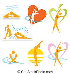iconos, salud, sauna, balneario