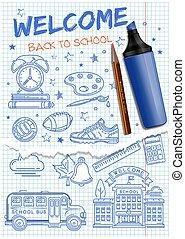 iconos, school., bienvenida, espalda, conjunto, escuela