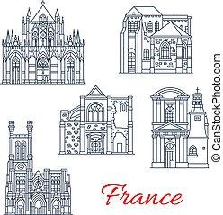 iconos, señales, fachadas, francia, vector, provence