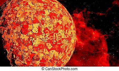 iconos, secreto, globo, espacio, símbolos, seguridad, rojo