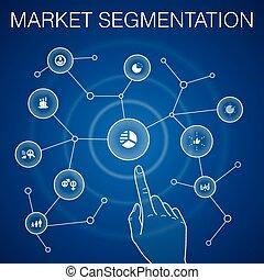 iconos, segmento, segmentation, azul, edad, demography, ...