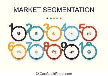 iconos, segmento, segmentation, edad, template., demography...