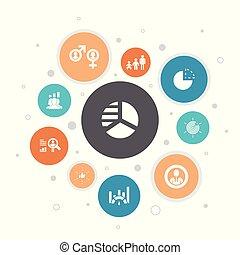 iconos, segmento, segmentation, pasos, 10, burbuja, edad, ...