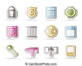 iconos, seguridad, empresa / negocio