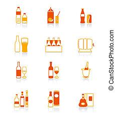 iconos, serie, bebida, jugoso, botella,  