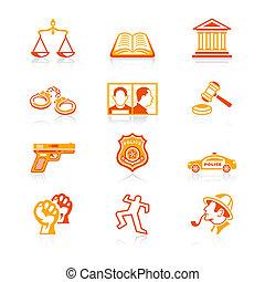 iconos, serie, jugoso, orden, ley, |