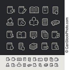iconos, --, serie, libro, negro, línea