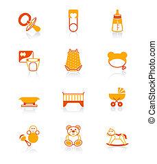 iconos, serie, objeto, jugoso, bebes,  