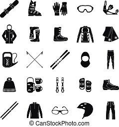 iconos, series., esquí
