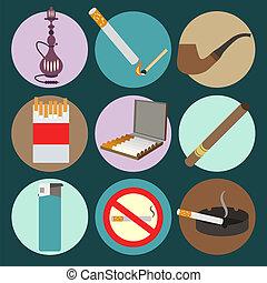iconos, set., fumar, accesorios