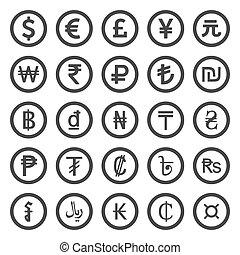 iconos, set., moneda, fondo negro, blanco, encima