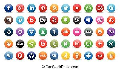iconos, social, 50